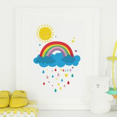 Are you interested in our rainbow nursery art print for new baby? With our bright sunshine nursery print art gift you need look no further.