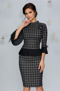 Compleu Dessa in carouri Peplum Dress, Costume, Floral, Dresses, Style, Fashion, Vestidos, Swag, Moda