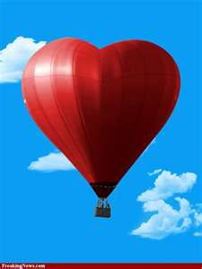 .Red heart balloon...