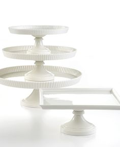 Nice classics from Martha Stewart - price is nice & you won't be afraid to use them  http://www1.macys.com/shop/product/martha-stewart-collection-whiteware-cake-stands?ID=247563