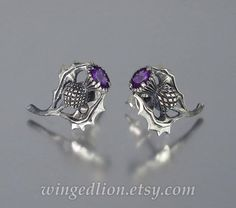 THISTLE BRANCH silver stud post earrings with Amethyst | Etsy Jewelry Insurance, Precious Metals, Silver Rings, Jewelry Design, White Gold, Gems, Wedding Rings, Sterling Silver, Pendant
