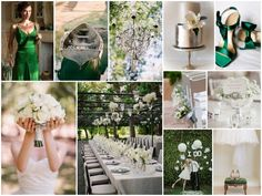 Green Silver & White Wedding Theme. Can get some very good idea's to incorporate into an Irish bd party.