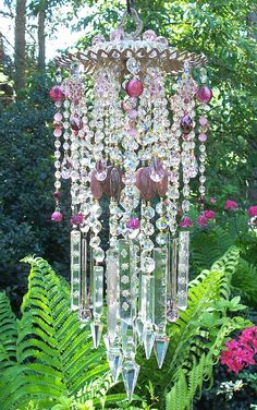 Crystal Wind Chime  TO DO- use my wire hanging baskets - turn upside  down and create crystal wind chimes with old jewelry and crystals