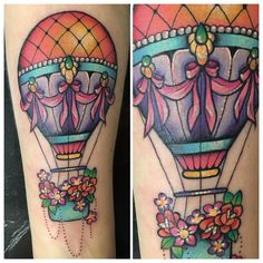 """Colourful hot air balloon from yesterday.  #hotairballoon #girlswithtattoos…"