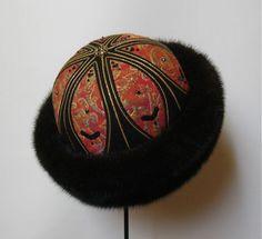 Pelshat / Pelshue.  Fur hat, Model Tzar in mink. Handembroidered top,  Christian Dior silk brocade. Handmade by Jane Eberlein, Samarkand, Copenhagen, Denmark. www.samarkand.dk
