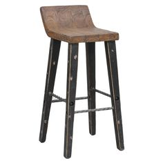 Give your home decor an industrial accent with this unique Tam low-back counter stool. Made of elm wood and iron foot rests for durability, this eye-catching stool features distressed black legs with a natural brown seat.