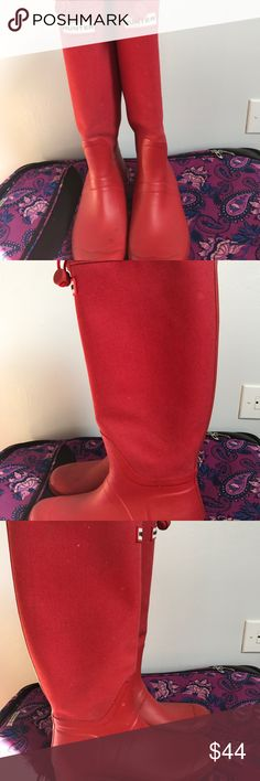 Rain Boots Red Hunter Rain boots with drawstring Hunter Boots Shoes Winter & Rain Boots