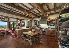 """This """"rustic"""" California kitchen was previously featured in Architectural Digest."""