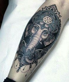 #inked #ganesha #indian #blackandwhite #tattoo #tatuagem #alineymarques