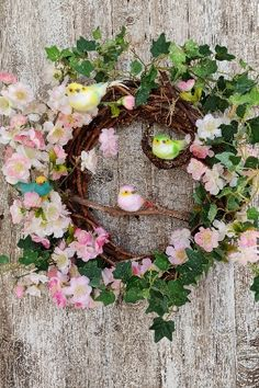 It's made of #natural #grapevine and it's decorated with almond #flowers, #vintage and new #birds Christmas Door Wreaths, Spring Door Wreaths, Christmas Door Decorations, Decorating With Christmas Lights, Easter Wreaths, Summer Wreath, Wreaths For Front Door, Outdoor Wreaths, Easter Table Decorations