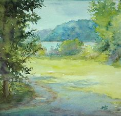 """View from Farnsley Moreman by Judy Mudd Watercolor ~ 7"""" x 7"""""""