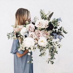denim blue, white, dull green, and blush bouquet of flowers My Flower, Wild Flowers, Beautiful Flowers, Beautiful Smile, Floral Wedding, Wedding Bouquets, Wedding Flowers, Bouquet Flowers, Floral Flowers