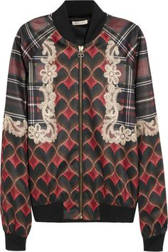 Printed satin bomber by Emma Cook Satin Bomber Jacket, Bohemian Print, Satin Jackets, Sweaters And Jeans, Print Jacket, Frame Denim, Outerwear Jackets, Cook, Printed