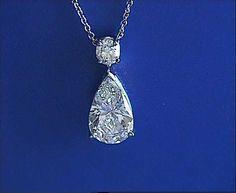 3.30ct Pear Shape Diamond Pendant Necklace GIA certified JEWELFORME BLUE
