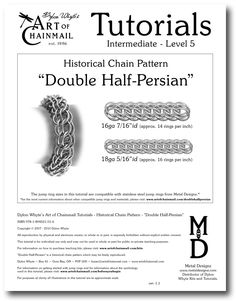 Chain Tutorial  Double HalfPersian Pattern by dylonwhyte on Etsy, $10.00