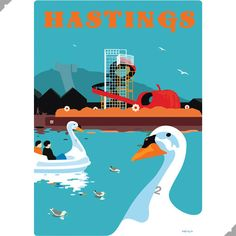 Hastings Swan Pedalos, East Sussex Print – Andy Tuohy Design