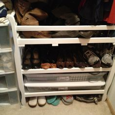 Old changing table repurposed as a shoe/accessory organizer in my closet.