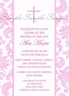 Baptism Communion Cross Pink Invitation