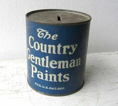 1930's Vintage Lithographed Tin Country by kelleystreetvintage