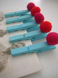pom pom peg magnets. remind me of rudolph