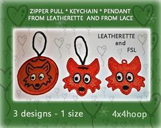 Fox Machine Embroidery Designs  Zipper pull  Keychain  lace