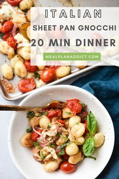 Italian Sheet Pan Gnocchi 20 Minute Family Dinner by Meal Plan Addict. Italian Sheet Pan Gnocchi is a caprese inspired recipe. The perfect combination of refreshing flavors and comfort foods, this is definitely a dish for every season. Make dinner delicious with recipes from www.mealplanaddict.com #mealplanaddict #familydinner One Pan Meals, Quick Meals, 30 Minute Dinners, Gnocchi Recipes, Comfort Foods, Sheet Pan, Meal Planning, Dinner Recipes, Dish