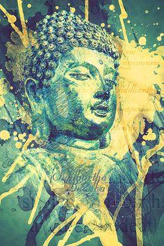 Siddhartha Buddha Art. Siddhartha became the Buddha after realizing the Four Noble Truths and began the Eight Fold Path. Buddha photograph with splash texture and text. Wonderful Buddha inspired artwork for your hone and office! #Siddhartha #Buddha #spiritual
