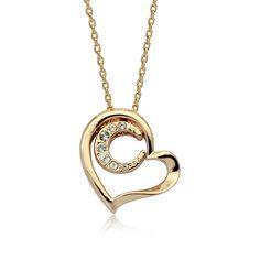Платина / позолоченные простой дизайн двойной сердца ожерелье для девочек, шарм ожерелье