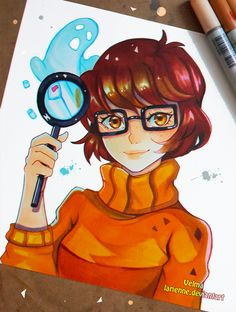 A small portrait of Velma from Scooby Doo : D did you grow up watching it? what is your fav horror series? : D If you like my work ,consider watching me. Join me for more adventures @ &n. Kawaii Drawings, Disney Drawings, Cute Drawings, Copic Marker Art, Copic Art, Velma Do Scooby Doo, Desenho Scooby Doo, Manga Art, Anime Art