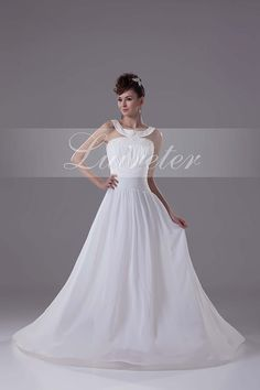 Beautiful A-Line Floor Length Halter White Chiffon Ruffles with Beading Wedding Dress