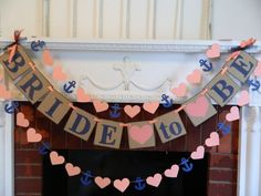 Coral and Navy Bride To Be Banner - Bridal Shower Decorations - Bachelorette Party decor - CUSTOMIZE YOUR COLORS