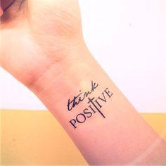 2pcs THINK POSITIVE Faith Cross - InknArt Temporary Tattoo - set wrist quote tattoo body sticker fake tattoo wedding tattoo small tattoo