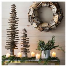 Bring the outdoors in with the Evergreen and Natural Décor Collection. In this collection you'll find Christmas trees and wreaths made of chopped pines, bouquets of green sprigs and berries and glowing votive candles for your mantle. Enjoy these winter th Country Christmas, Winter Christmas, All Things Christmas, Christmas Holidays, Christmas Wreaths, Christmas Decorations, Xmas, Halloween Decorations, Christmas Feeling
