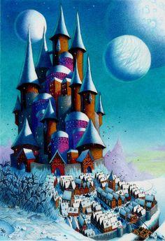 Fantasy Art Castle Winter Moon Whimsical Colored Pencil Drawing Art Print - Winterfrost - 8 x 10. $35.00, via Etsy.