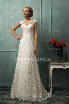 Sheath/Column V-neck Chapel Train Lace Wedding Dress