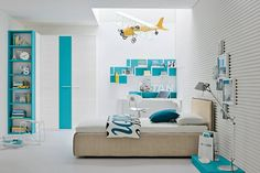 chambre enfants turquoise