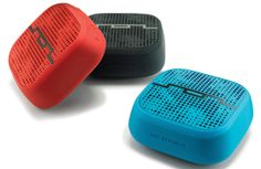 Deceptively small and ferociously loud, the Punk wireless speaker from Sol Republic packs a mean punch in a convenient size. Each colorful speaker is water, dust, and shock resistant. The speakers have an eight-hour battery life and a wireless range up to 60 feet. www.solrepublic.com