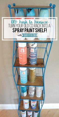 CD Tower turned Spray Paint Shelf