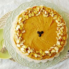 Vanilla Bean Cappuccino Cake with Sliced Almonds #holiday #cakes