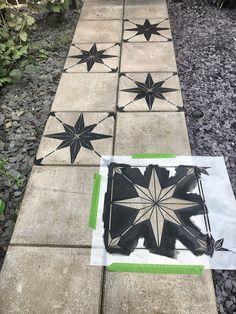 How to makeover a concrete slab patio/path for under > Let's Talk. How to makeover a concrete slab patio/path for under > Let's Talk. Concrete Slab Patio, Concrete Garden, Painted Concrete Porch, Stenciled Concrete Floor, Painted Pavers, Pavers Patio, Garden Tiles, Patio Tiles, Patio Flooring