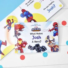 This personalised board book will make for a great first read for infants and toddlers, especially as it features some of the biggest heroes from the Marvel Universe! Characters such as Spider-Man & Thor make an appearance and have been given . Personalised Childrens Books, Personalized Books, What Makes A Hero, Customised Gifts, Custom Gifts, Heroes Book, Horrible Histories, Personalized Birthday Gifts, Kids Story Books