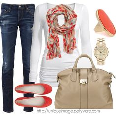"""Coral Casual"" by uniqueimage on Polyvore"