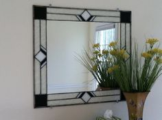 Black and white mirror frame Stained Glass by Ceil Jane Stained Glass Mirror, Beveled Edge Mirror, Mirror Mosaic, Stained Glass Panels, Mirror Art, Stained Glass Projects, Stained Glass Patterns, Leaded Glass, Glass Mirrors