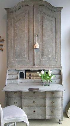 Gustavian armoire paint finish greige