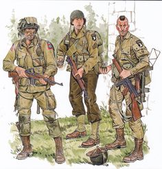 DwarfCrypt: In box: Bolt Action: US Airborne Pathfinders (Artizan Design) Military Photos, Military Art, Military History, Us Army Uniforms, Army Drawing, Panzer Ii, Comics Illustration, Illustrations, Paratrooper