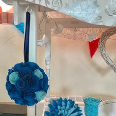 Our decorative flowers in use! Christening Pomander #paper #flowers #paperflowers #blue #christening #decorations #wallflowers #giant #sweetcart #sweets #unique #handmade #manchester #foreverpaperflowers