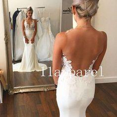 2015 white/ivory Sexy Sereia Vestido De Noiva Sheer Apliques de volta vestidos de casamento in Roupas, calçados e acessórios, Casamentos e ocasiões formais, Vestidos de noiva   eBay