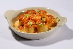 From Pricci's January Regional Menu: Rose of St. Francesco - Wood Fire Gratinee Little Pasta Roses, Filled with Cold Water Lobster Farce, Chives Béchamel Lobster Sauce