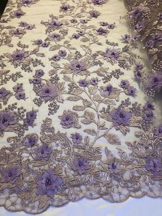 Discover thousands of images about Bridal Lace Fabric - Hand Embroidered Flower Pearls LAVANDER For Veil Mesh Dress Top Wedding Decoration By The Yard Couture Embroidery, Embroidery Dress, Beaded Embroidery, Beaded Lace, Dear Costume, Bridal Lace Fabric, African Lace, Hand Embroidery Designs, Saree Blouse Designs
