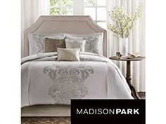 This Madison Park Randall 7-piece Comforter Set Will Add Beauty and Style to Your Bedroom Setting Guaranteed. The Damask Woven Motif in a Contrast Color Accentuates Class in This Beautiful Comforter Set. Pintucking Adds Dimension on Each Side.QUEEN SIZE